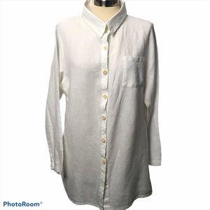 Flax Jeanne Engleheart White Button Down Shirt M